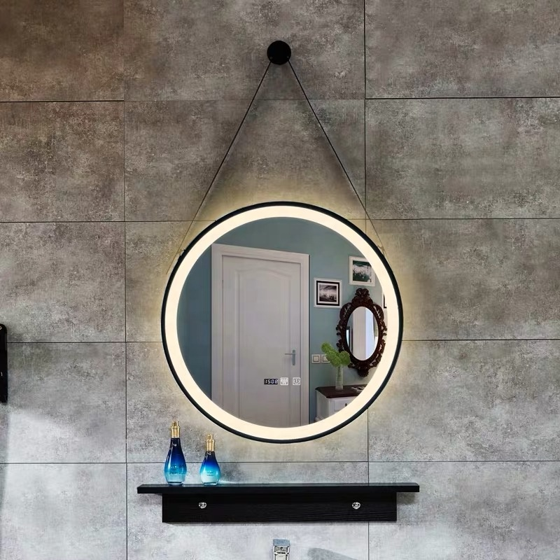 Round wall hung led mirror with frame (1)
